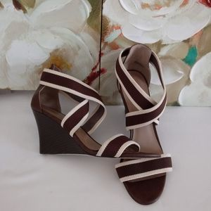 Ann Taylor elastic stripped straps wedge sandals